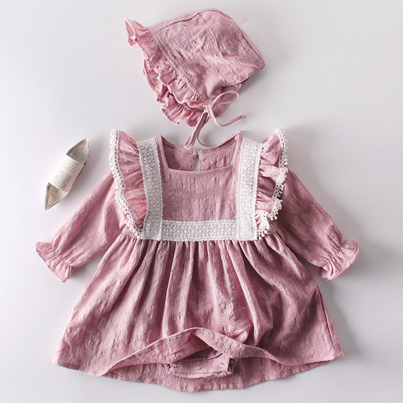 Комбинезон для маленьких девочек, одежда для новорожденных на весну и осень, кружевное платье принцессы с длинным рукавом, комбинезон + шапк...