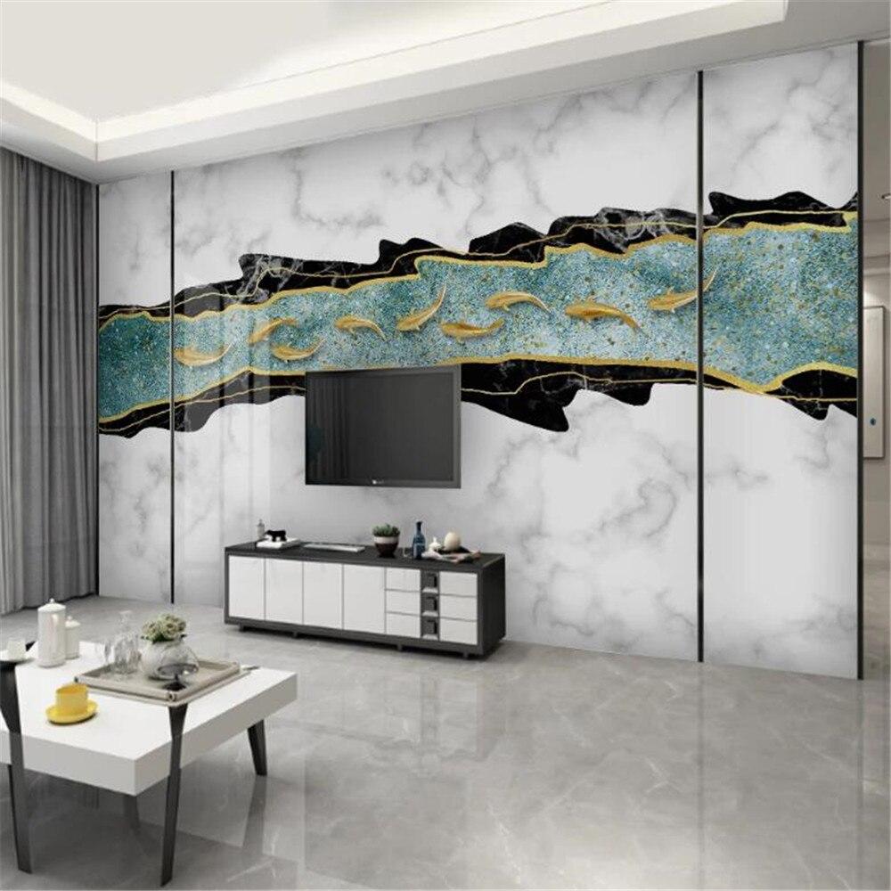 Milofi modern minimalist metal fish school marble geometric figure mosaic European TV background wall