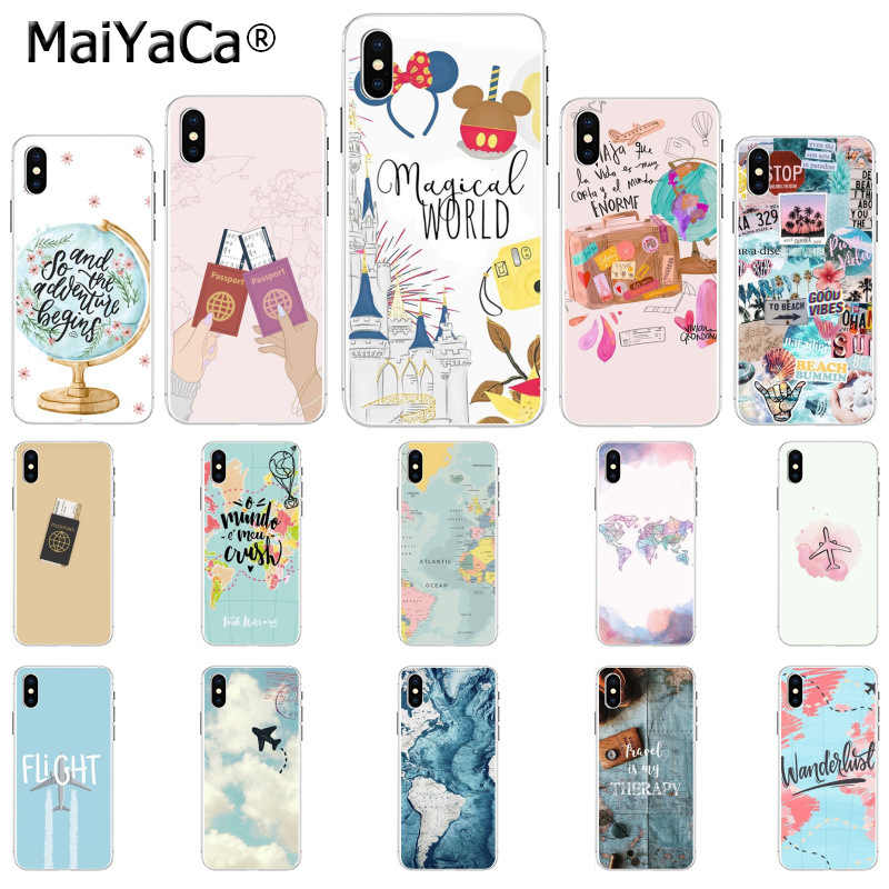 MaiYaCa ravelling world map viagens Preto Tampa Inteligente Shell Caso de Telefone para Apple iphone 11 pro 8 7 66S Plus X XS MAX 5S SE XR