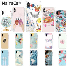 MaiYaCa ravelling mapa świata podróży Smart Cover czarna powłoka etui na telefon do Apple iphone 11 pro 8 7 66S Plus X XS MAX 5S SE XR(China)