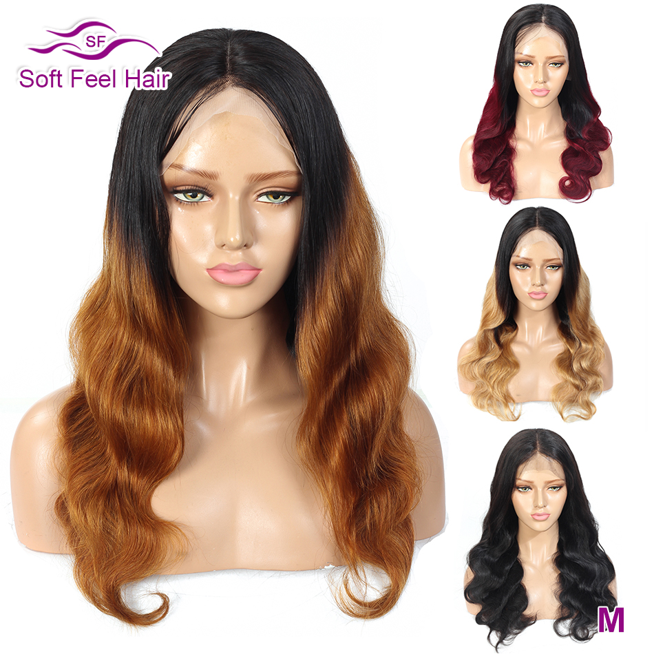Ombre Human Hair Wig Brazilian Body Wave Burgundy Lace Front Wig 13x4 Transparent Lace Wigs For Women Remy Soft Feel Hair 150%