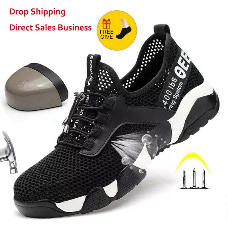 Mężczyźni kobiety stalowe Toe buty robocze bhp lekkie oddychające odblaskowe casualowe buty sportowe zapobiegają przekłuwaniu kobiet buty ochronne