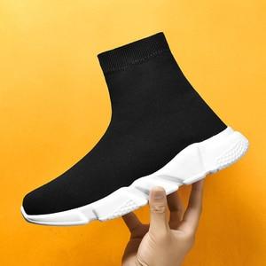 Image 2 - Yeni örgü çorap ayakkabı erkek spor ayakkabı nefes rahat erkek ayakkabıları çift loafer ayakkabılar adam rahat Zapatillas Hombre 35 47