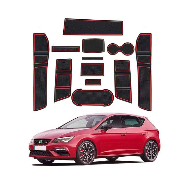 RUIYA Car Door Groove Mat For Leon Cupra 5F 2017 2018 2019 Anti Slip Dust Proof Gate Slot Pads Auto Interior Accessories Red
