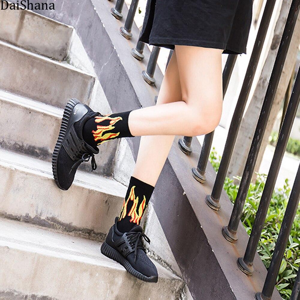 Women Man Fashion Hip-Hop Harajuku Sock Purple Flame Blaze Power Torch Hot Warmth Calceines Mujer Street Skateboard Cotton Socks