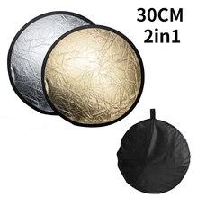 """SH 12 """"(30 سنتيمتر) 2 in 1 متعدد القرص يختلف ضوء عاكس مستدير مع حقيبة المحمولة للطي الفضة والذهب للتصوير استوديو"""