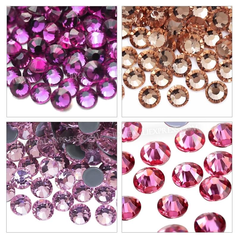 Розовый, фуксия, розовый, шампань, стразы с горячей фиксацией, плоская задняя сторона, кристалл страз, камень, сделай сам, исправление на ткан...