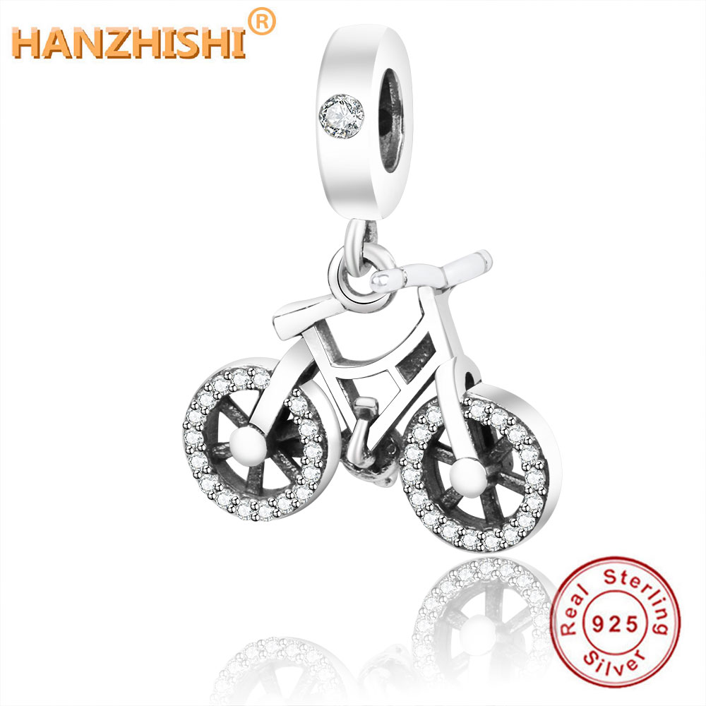 925 Sterling Silver Bead Charm Brilliant Bicycle Dangle Pendant Beads Fit Original Fine Charm Bracelet & Bangle DIY Jewelry(China)