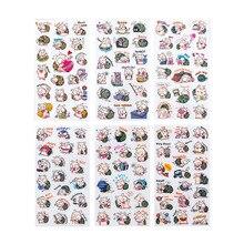 6pcs/set kpop cute kawaii cartoon animal pig cat snail funny expression sticker label student stationery children kids toys gift