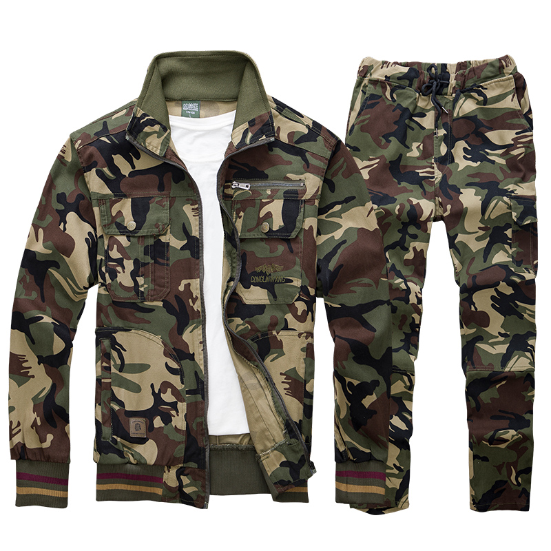 Camouflage Overalls Suit Military Cargo Sets Male Labor Insurance Cotton Welding Anti-scald Wear-resistant Elastic Clothing