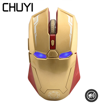 Iron Man Wireless Silent Gaming Mouse 2.4Ghz Ergonomic Optical PC Computer 6 Buttons Mice 1600 DPI Mause For PC Laptop Desktop