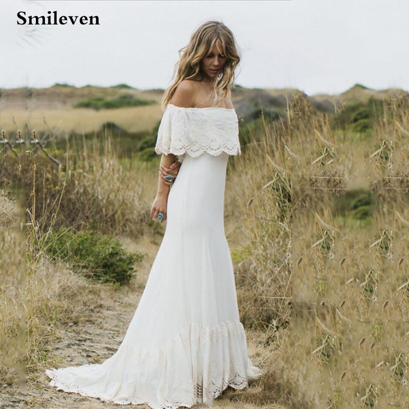 Smileven Lace Mermaid Wedding Dress Robe De Mariee 2019 Off The Shoulder Chiffon Bridal Dresses Boho Lace Wedding Gowns