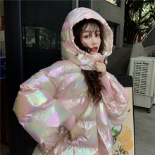 Women Colorful Shiny Hooded Parkas Thick Warm Winter Puffer Jacket Loose Short D