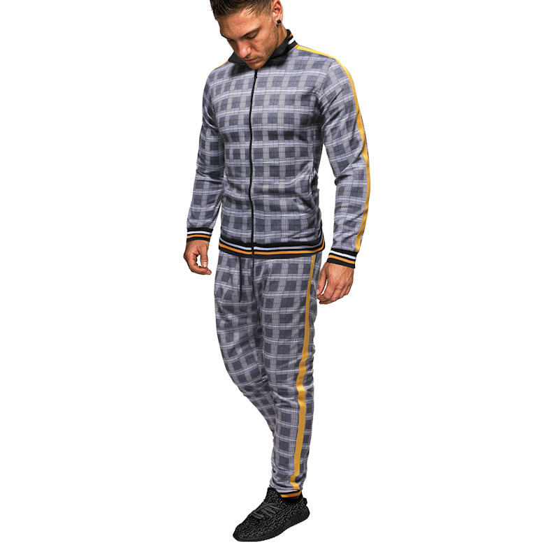 Spring And Autumn Men's Suit Printed Plaid Sports Suit Outdoor Travel Fashion Two-piece Suit