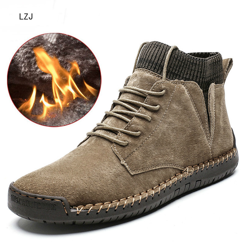 Brand Men Snow Boots Winter Plush Warm Men Motorcycle Boots Lace-Up Non-slip Male Ankle Boots Waterproof Autumn Man Work Shoes