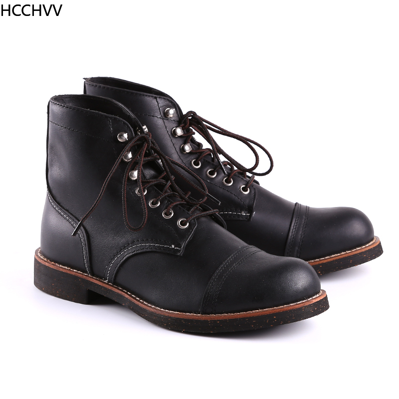 New Spring Autumn Vintage Tooling Dark Wings Male Motorcycle Boots Quality Cow Leather Round Toe Red Men Casual Ankle Boots - 2