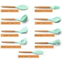 Silicone Cooking Utensils Kitchen Utensil set 9&11 Natural Wooden Silicone Cooking Utensils Kitchen Tools Gadgets