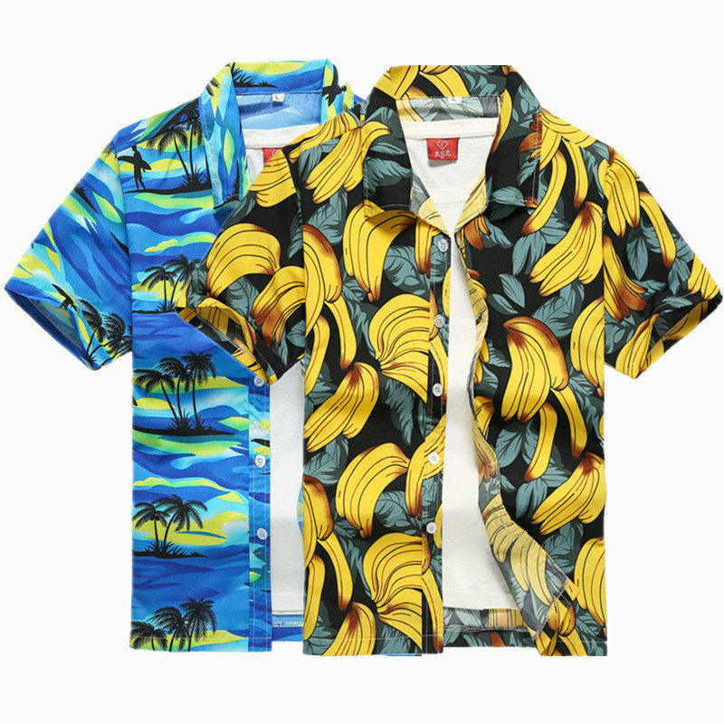 2019 New Male Hawaiian Shirts Fashion Men's Casual Button Hawaii Print Beach Short Sleeve Quick Dry Top Blouse M-5XL