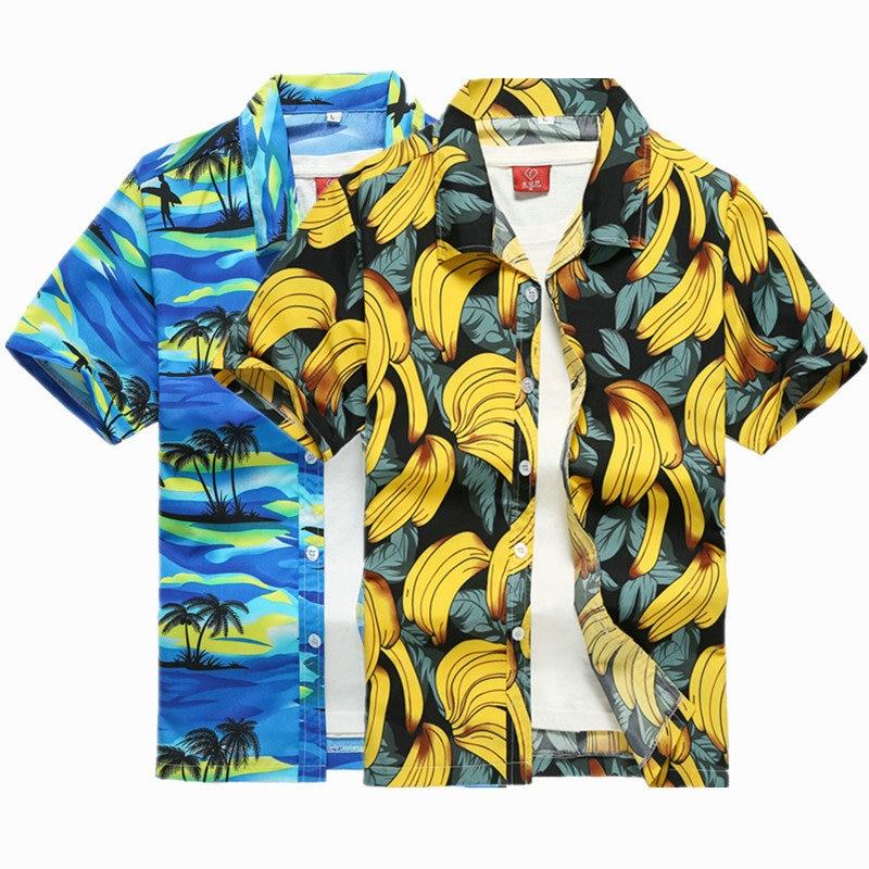 2019 New Male Hawaiian Shirts Fashion Men's Casual Button Hawaii Print Beach Short Sleeve Quick Dry Top Blouse M-5XL