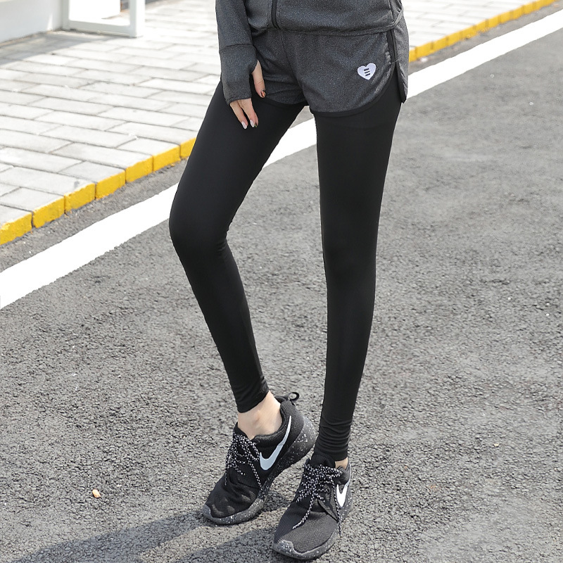 2019 New Style Online Celebrity Sports Yoga Pants Women's Fake Two-Piece Running Aerobics Tight Slimming Fitness Yoga Pants Wome