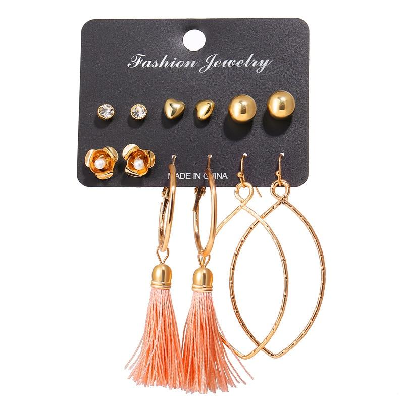 17 км акриловые серьги с кисточками для женщин, богемные серьги, набор больших геометрических висячих сережек Brincos, Женские Ювелирные изделия DIY - Окраска металла: Earrings Set 20