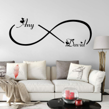 Infinite Love Decal Custom Couple Names Wall Decals Infinity Heart Love Wall Vinyl Sticker Wedding Decor for Master Bedroom G944