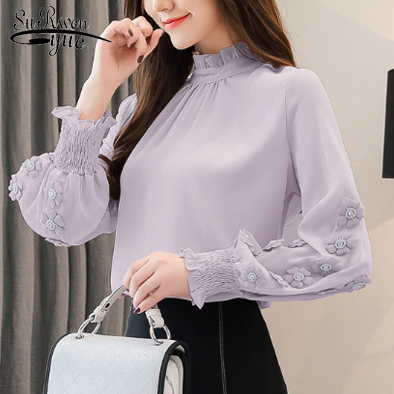 New Arrival Fashion Chiffon Womens Tops And Blouses Stand Sweet Long Sleeve Blouse Pink Female Clothes Loose Office Tops 6939 50