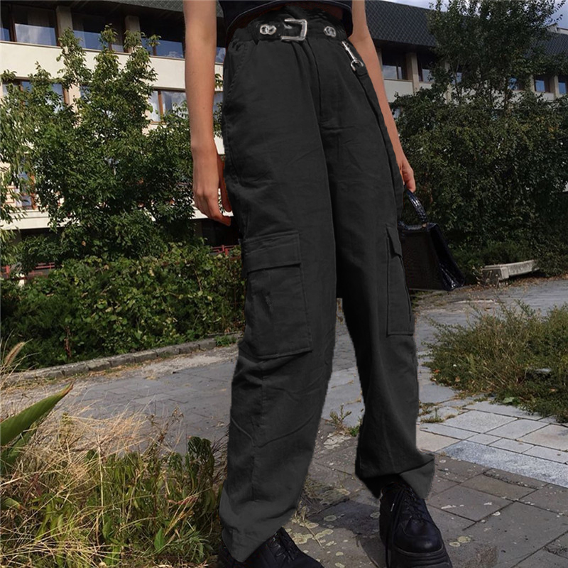 Weekeep Women Casual Pockets Patchwork Cargo Pants 2020 High Waist Straight Trousers Women Pants