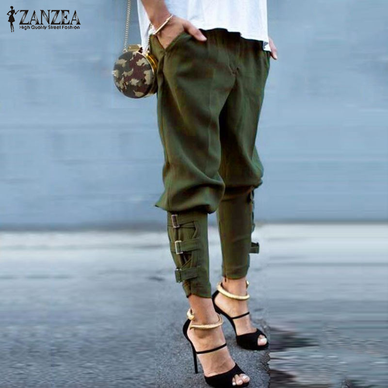 Vintage Women Pantalon 2020 ZANZEA Military Army Harem Camo Pants Capris Trousers Female Streetwear Buckle Cargo Pants Oversized