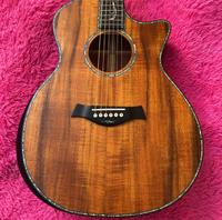 custom logo All koa wood Matte finish PS14 acoustic guitar,Ebony fingerboard,Abalone inlays koa Guitar,Cutaway body Arm rest