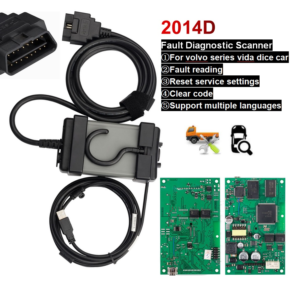 Puce complète pour Volvo Vida Dice 2014D pro outil de Diagnostic OBD2 OBDII moteur de voiture Scanner de défaut automobile carte verte lecteur de code