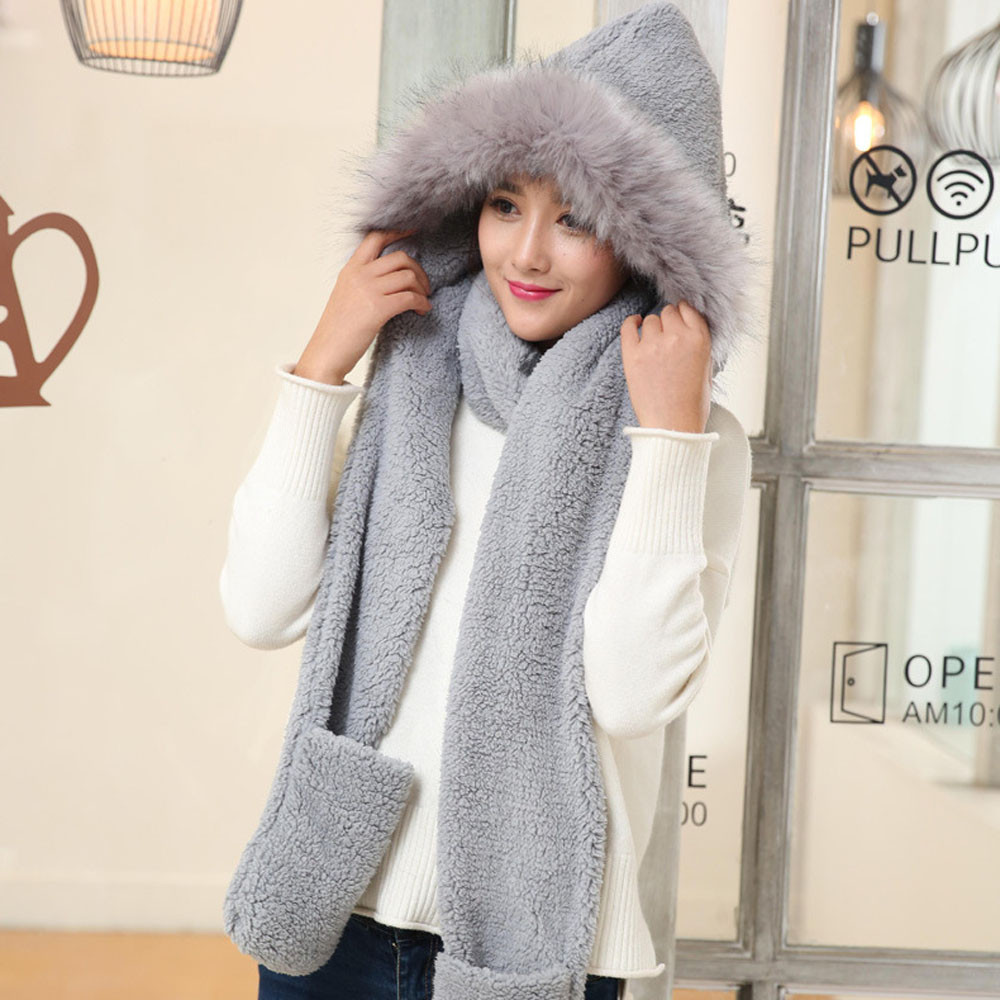 Sagace Winter Warm Women Hoodie Gloves Pocket Earflap Hat Long Scarf Shawl Snood Wraps Womens Gloves Hat Scarf Шапка Женская