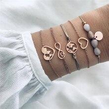 VAGZEB 5 Pcs/ Set Gold Color Heart Map Infinity Pendant Bracelet for Woman New Fashion Stone Woven