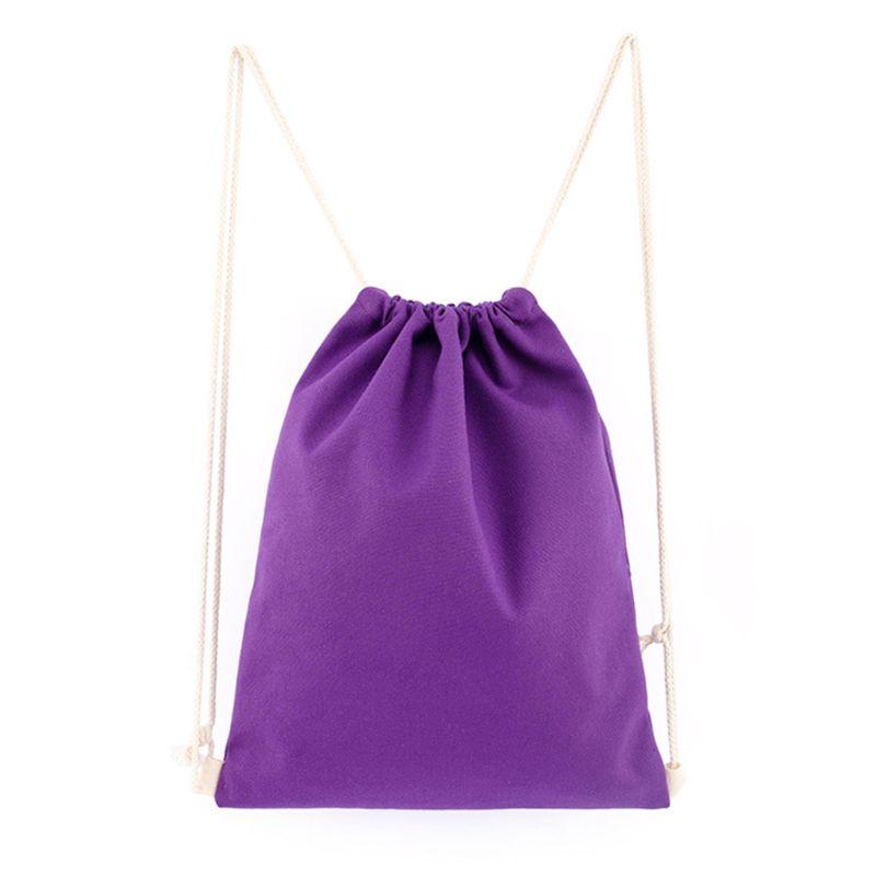 Canvas Drawstring Backpack String Gym Bag Sports For Men Women Kid School Travel   M5TE