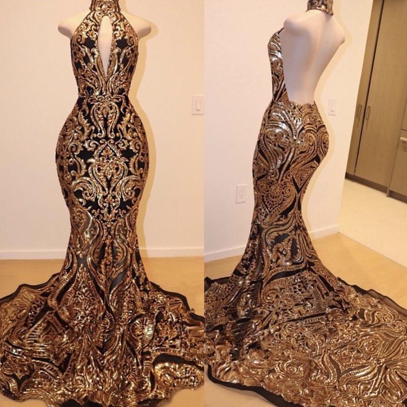 Lindo Ouro e Preto Vestidos de Baile Brilhantes 2020 Hign Neck Backless Trem Da Varredura Africano Sexy trompete Ocasião Desgaste da Noite vestido