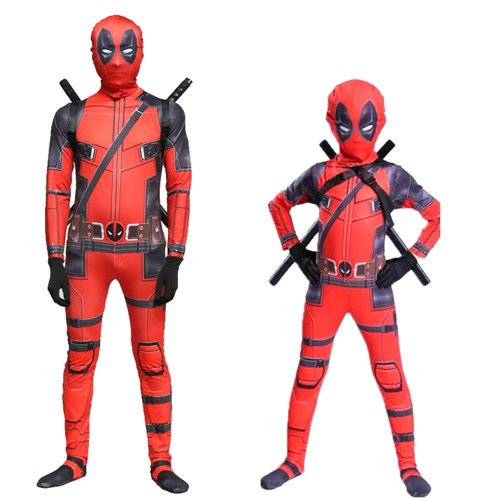 Deadpool Cosplay Costume Red Disfraz Deadpool Jumpsuit With Mask Halloween Carnival Costumes For Kids Boys Girls Men