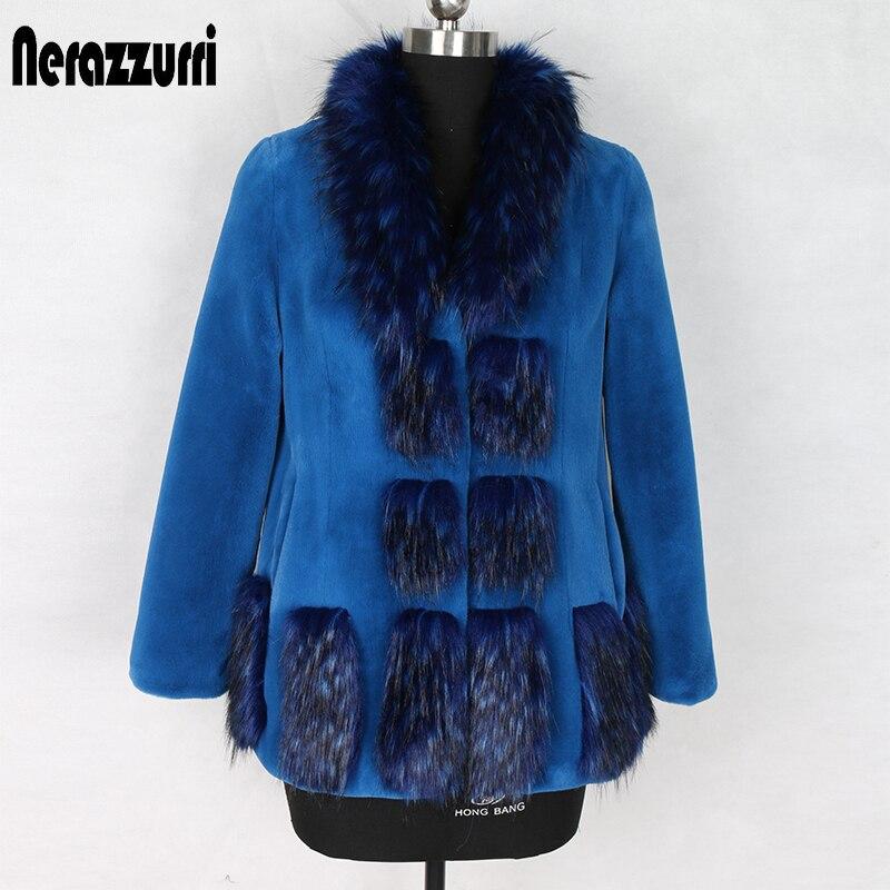 Nerazzurri Winter Blue Faux Fur Coat With Fox Trim Regular Long Sleeve Plus Size Warm Fluffy Furry Fake Fur Jacket 5xl 6xl 7xl