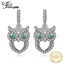 JewelryPalace Green Eyed Owl Nano Russian Simulated Emerald Drop Earrings 925 Sterling Silver Gifts For Women Jewelry недорого