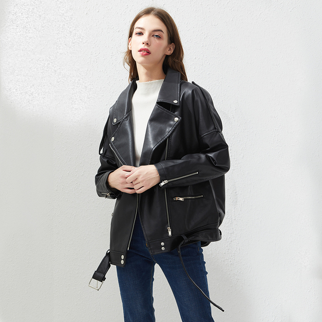 Fitaylor PU Faux Leather Jacket Women Loose Sashes Casual Biker Jackets Outwear Female Tops BF Style Black Leather Jacket Coat 1