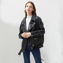 Fitaylor blouson en similicuir PU femme noir, ample, ceinture, vêtement d'extérieur, haut Style BF
