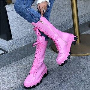 Image 3 - Женские ботинки до середины икры FEDONAS, черные однотонные мотоботы из натуральной кожи, обувь на платформе для вечеринки на осень 2020