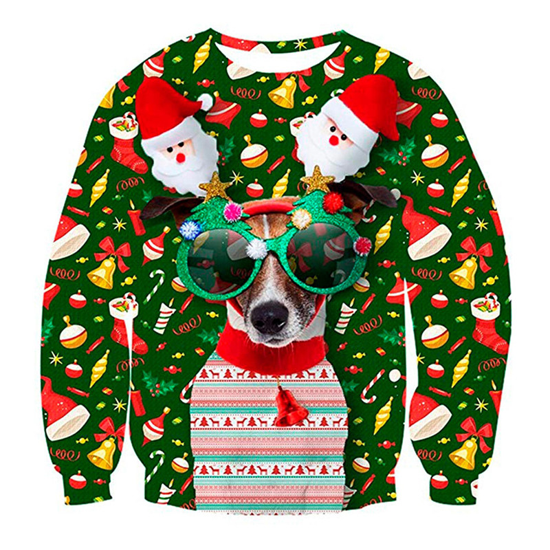 Unisex Men Women 2019 Ugly Christmas Sweater For Holidays Santa Elf Christmas Funny Fake Hair Sweater Autumn Winter Sweater