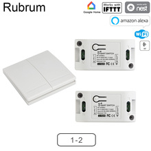 Rubrum RF Wifi Switch 433MHz 10A/2200W Wireless Switch 86 Type ON/Off Switch Wall Panel 433 MHz RF WiFi Remote Control Gate Tuya
