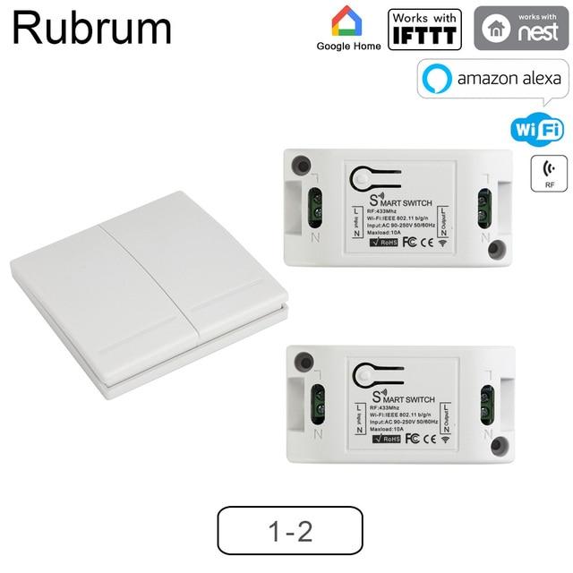 Rubrum rf 無線 lan スイッチ 433 mhz 10A/2200 ワットワイヤレススイッチ 86 型/オフスイッチ壁パネル 433 433mhz の rf 無線 lan リモートコントロールゲートチュウヤ