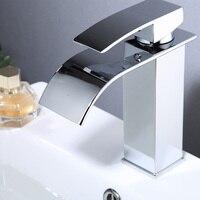 Grifo moderno para lavabo de baño, grifería de cascada montada en cubierta, grifo mezclador de agua fría y caliente, latón cromado, grúa de lavabo