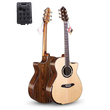 Professional Solid Guitar,41 guitar with Solid SPRUCE Top/ Colorful butterfly wood Body,with pickup,Hand guard design,T-A110CPE top quality gyhl 0009 headless blue color ash wood body with f hole quilted maple veneer cover active pickup electric guitar