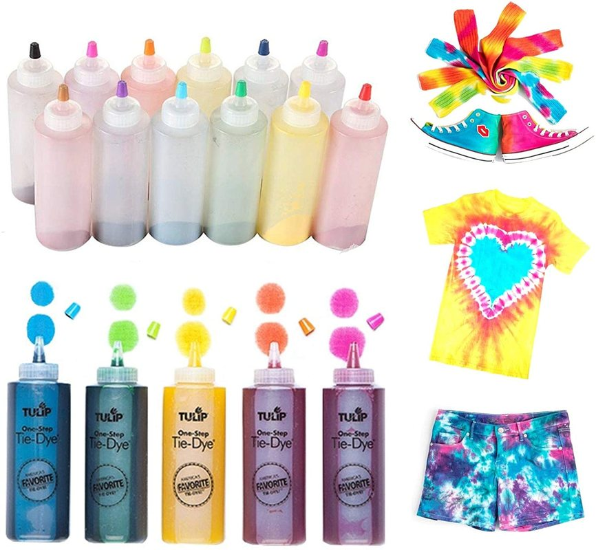 12pcs Tie Dye Kit Non-toxic DIY Garment Graffiti Fabric Textile Paint Colorful Clothing Tie Dye Kit Pigment Set 120ml