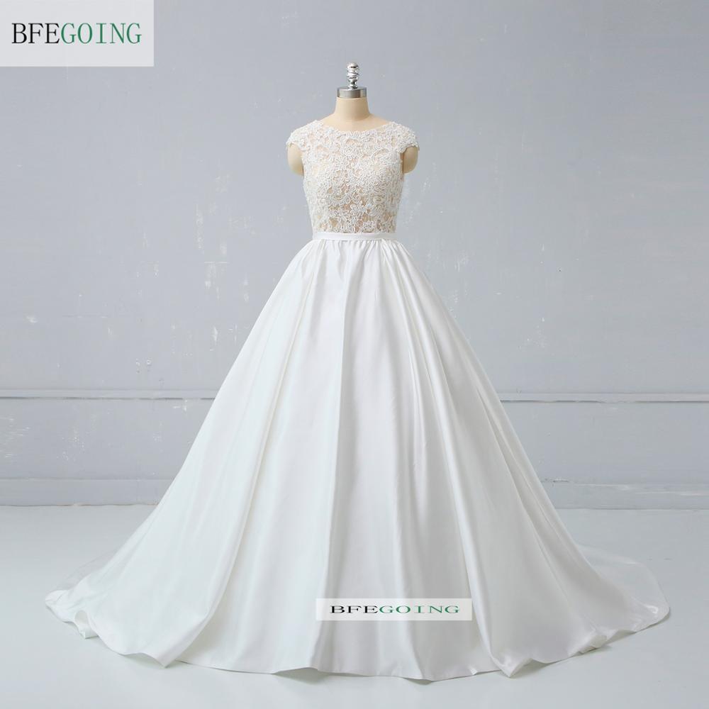 Ivory Satin Lace Beading Sleeveless Floor-Length Ball Gown Wedding Dress Chapel Train Custom Made
