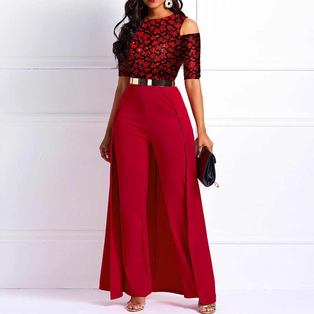 Z szerokimi nogawkami seksowny kombinezon drukuj kobiety Off ramię pół rękawy 2020 w stylu Casual, imprezowa elegancki suknia wieczorowa suknie balowe długie kombinezony