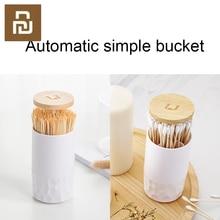 Original  Toothpick box home living room press automatic simple cotton swab box cotton swab barrel storage box In stock